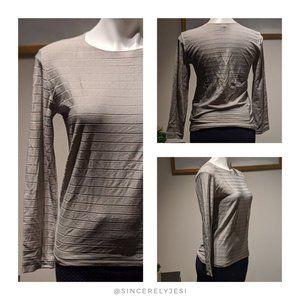 Giorgio Armani ▪ Horizontal Stripe Silver Gray Top